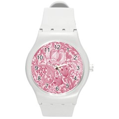 Vintage Style Floral Flower Pink Round Plastic Sport Watch (m) by Alisyart