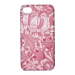 Vintage Style Floral Flower Pink Apple Iphone 4/4s Hardshell Case With Stand by Alisyart