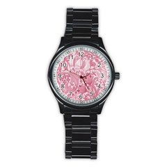 Vintage Style Floral Flower Pink Stainless Steel Round Watch by Alisyart