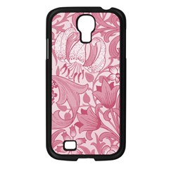 Vintage Style Floral Flower Pink Samsung Galaxy S4 I9500/ I9505 Case (black) by Alisyart