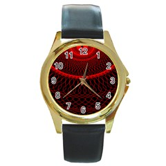 Red Spiral Featured Round Gold Metal Watch by Alisyart