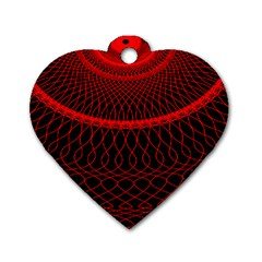 Red Spiral Featured Dog Tag Heart (one Side) by Alisyart