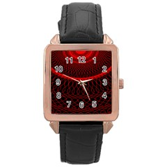 Red Spiral Featured Rose Gold Leather Watch  by Alisyart
