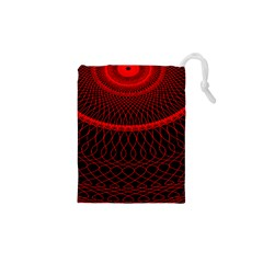 Red Spiral Featured Drawstring Pouches (xs)  by Alisyart