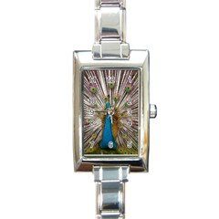 Indian Peacock Plumage Rectangle Italian Charm Watch by Simbadda