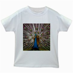 Indian Peacock Plumage Kids White T Shirts by Simbadda