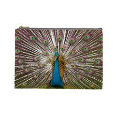 Indian Peacock Plumage Cosmetic Bag (large)  by Simbadda