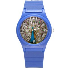 Indian Peacock Plumage Round Plastic Sport Watch (s) by Simbadda