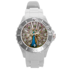 Indian Peacock Plumage Round Plastic Sport Watch (l) by Simbadda