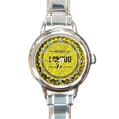 Happy Mother Day Round Italian Charm Watch by Simbadda