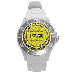 Happy Mother Day Round Plastic Sport Watch (l) by Simbadda