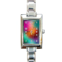 Colourful Weave Background Rectangle Italian Charm Watch by Simbadda