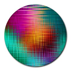 Colourful Weave Background Round Mousepads by Simbadda