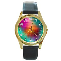 Colourful Weave Background Round Gold Metal Watch by Simbadda