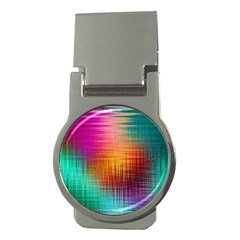 Colourful Weave Background Money Clips (round)  by Simbadda