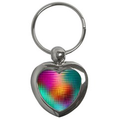 Colourful Weave Background Key Chains (heart)  by Simbadda