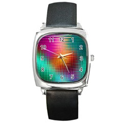Colourful Weave Background Square Metal Watch by Simbadda