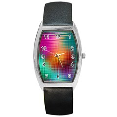 Colourful Weave Background Barrel Style Metal Watch by Simbadda