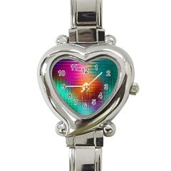 Colourful Weave Background Heart Italian Charm Watch by Simbadda
