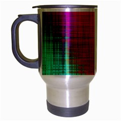 Colourful Weave Background Travel Mug (silver Gray) by Simbadda
