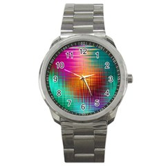 Colourful Weave Background Sport Metal Watch by Simbadda