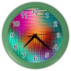 Colourful Weave Background Color Wall Clocks by Simbadda