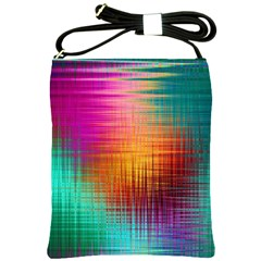 Colourful Weave Background Shoulder Sling Bags by Simbadda