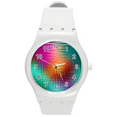 Colourful Weave Background Round Plastic Sport Watch (m) by Simbadda