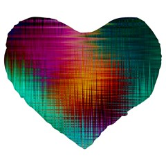 Colourful Weave Background Large 19  Premium Heart Shape Cushions by Simbadda