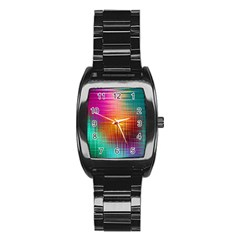 Colourful Weave Background Stainless Steel Barrel Watch by Simbadda