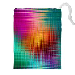 Colourful Weave Background Drawstring Pouches (xxl) by Simbadda