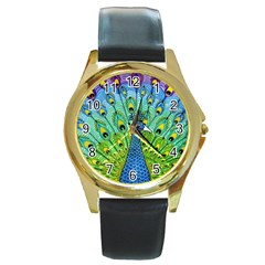 Peacock Bird Animation Round Gold Metal Watch by Simbadda