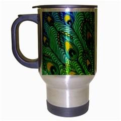 Peacock Bird Animation Travel Mug (silver Gray) by Simbadda
