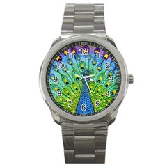 Peacock Bird Animation Sport Metal Watch by Simbadda