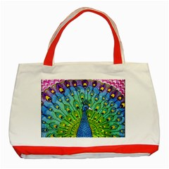 Peacock Bird Animation Classic Tote Bag (red) by Simbadda