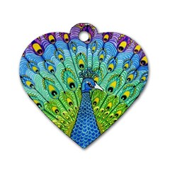 Peacock Bird Animation Dog Tag Heart (one Side) by Simbadda