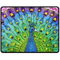 Peacock Bird Animation Fleece Blanket (medium)  by Simbadda