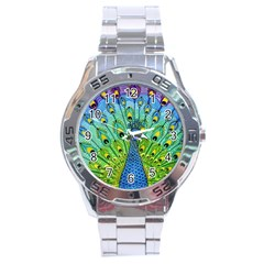 Peacock Bird Animation Stainless Steel Analogue Watch by Simbadda
