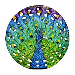 Peacock Bird Animation Ornament (round Filigree) by Simbadda