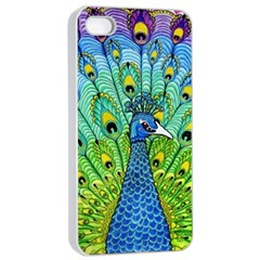 Peacock Bird Animation Apple Iphone 4/4s Seamless Case (white) by Simbadda