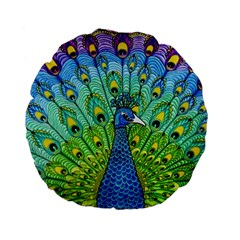 Peacock Bird Animation Standard 15  Premium Flano Round Cushions by Simbadda