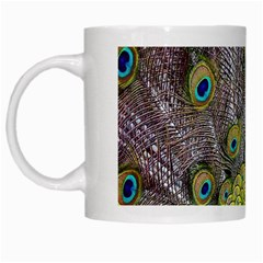 Peacock Bird Feathers White Mugs by Simbadda