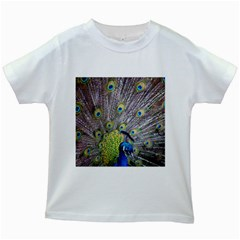 Peacock Bird Feathers Kids White T Shirts by Simbadda