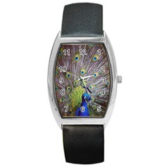 Peacock Bird Feathers Barrel Style Metal Watch by Simbadda