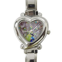 Peacock Bird Feathers Heart Italian Charm Watch by Simbadda