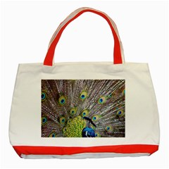 Peacock Bird Feathers Classic Tote Bag (red) by Simbadda
