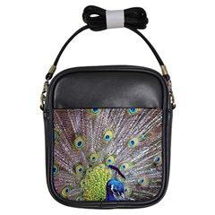 Peacock Bird Feathers Girls Sling Bags by Simbadda