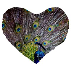 Peacock Bird Feathers Large 19  Premium Flano Heart Shape Cushions by Simbadda