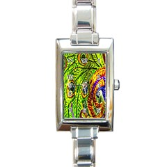 Peacock Feathers Rectangle Italian Charm Watch by Simbadda