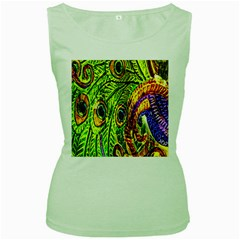 Peacock Feathers Women s Green Tank Top by Simbadda